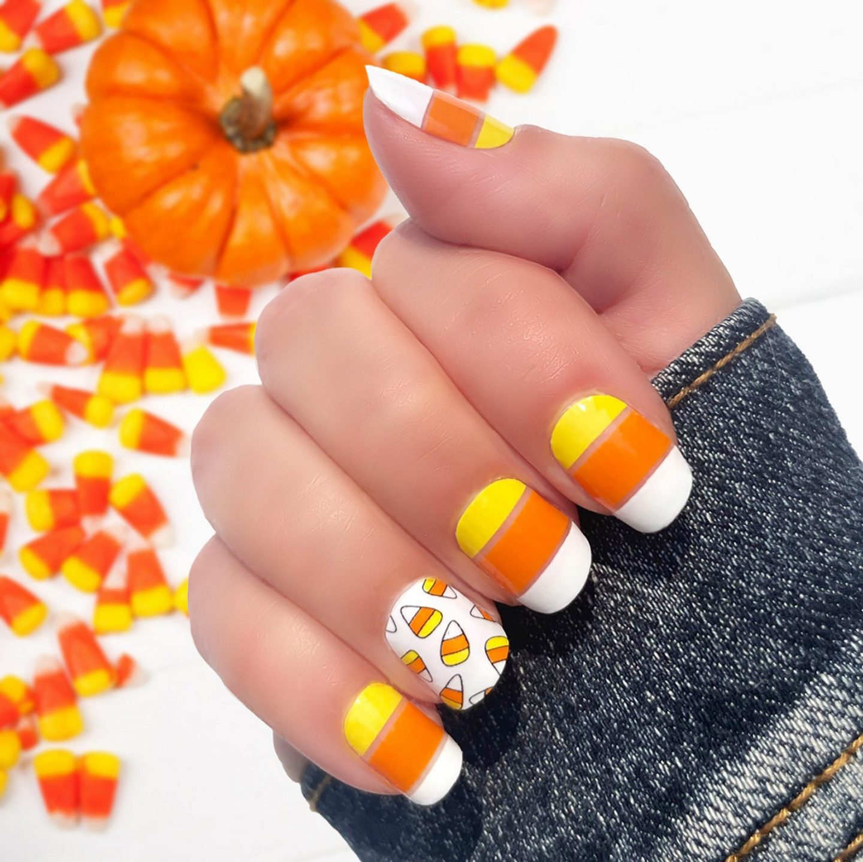 Cute short candy corn nails