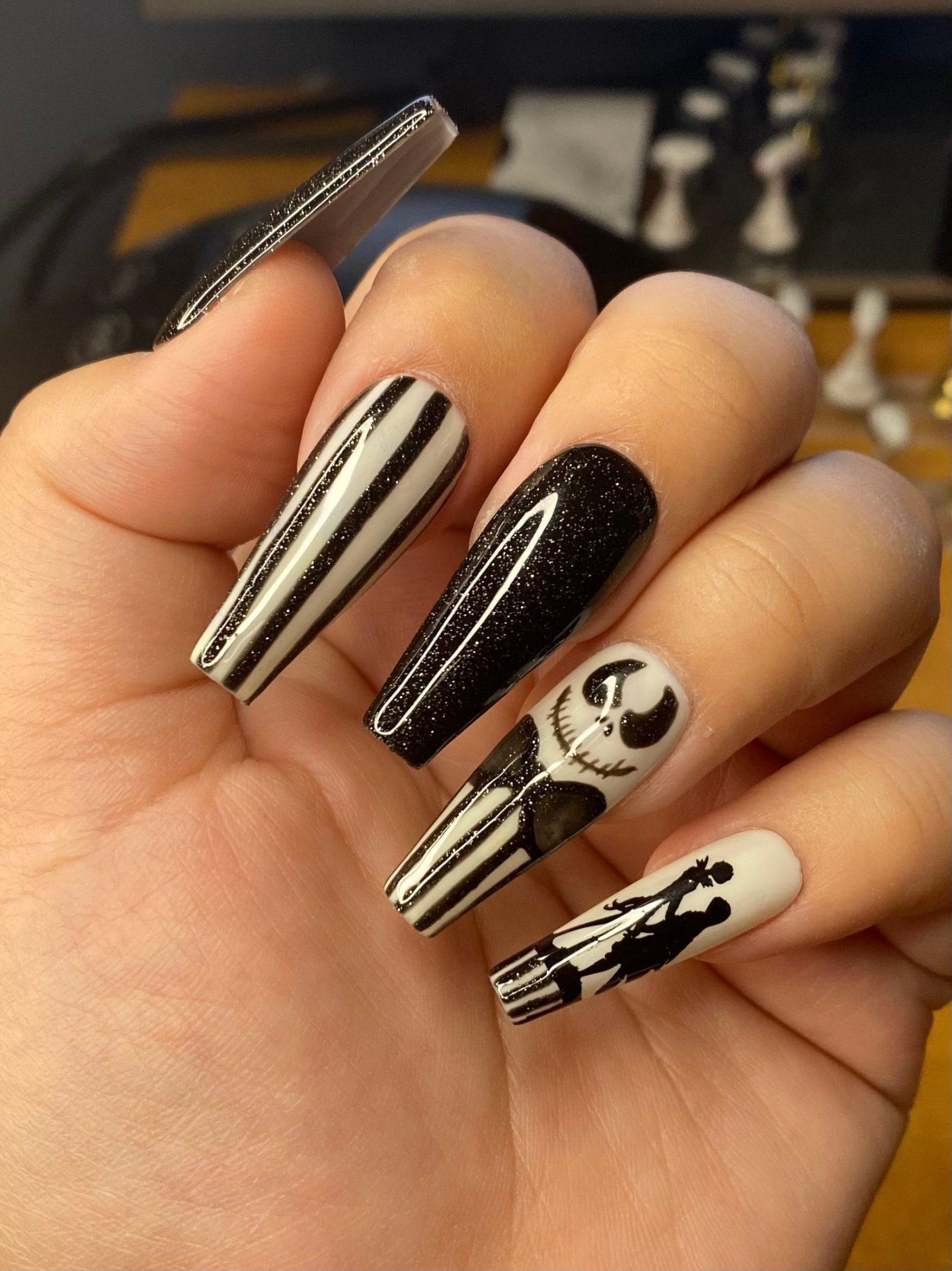 Black and white Jack Skellington nails