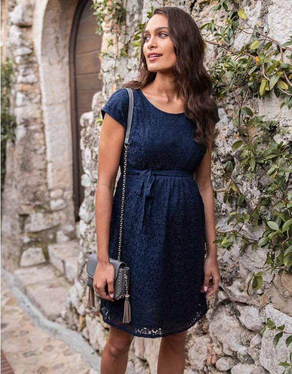Navu blue floral midi nursing dress