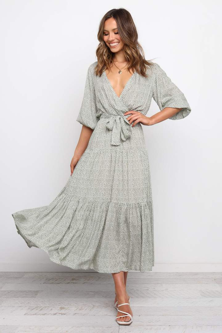 Pale green house dress with wrap detail