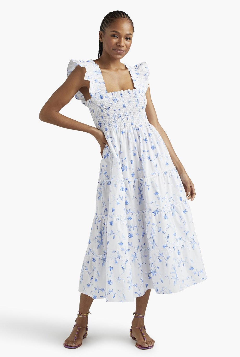 White and blue house dress with ruffles