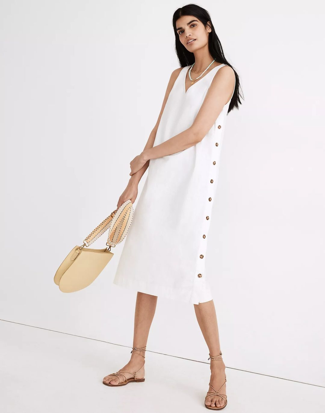 White linen dress with buttons