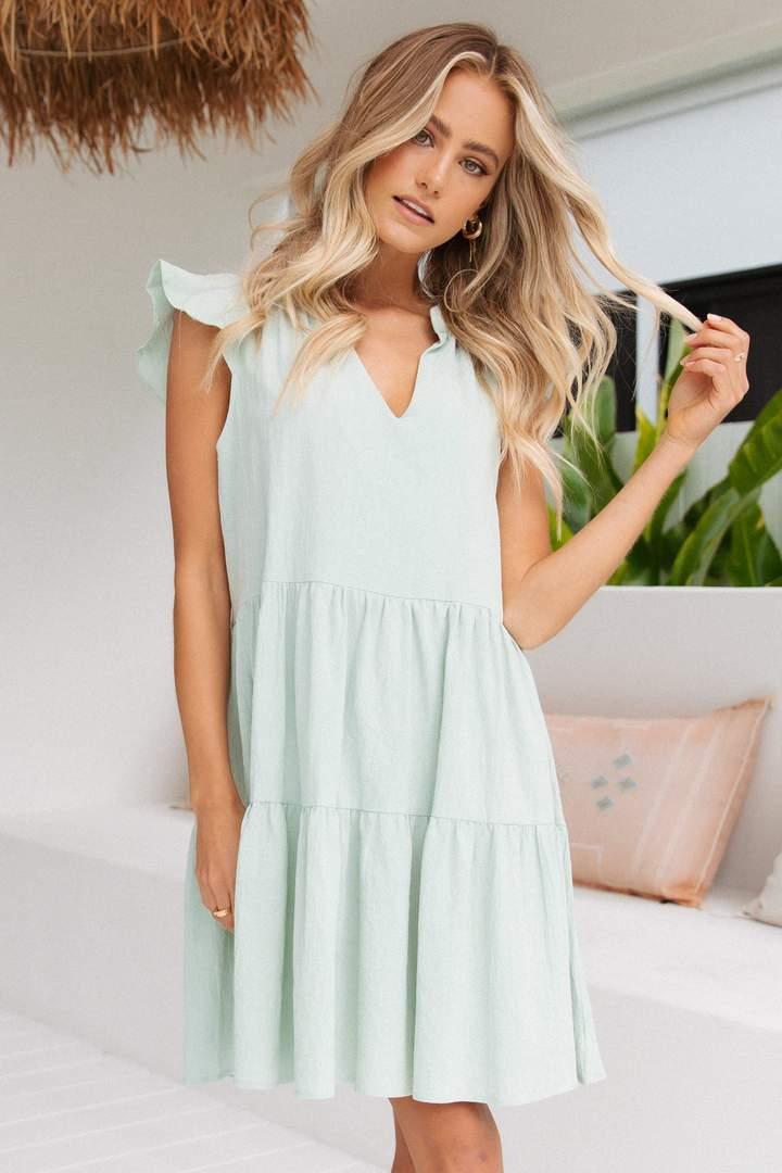 Pistachio green mini house dress
