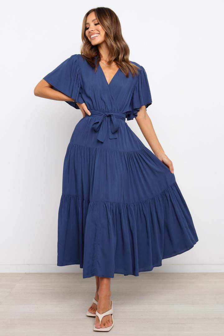 Navy blue wrap dress for the home