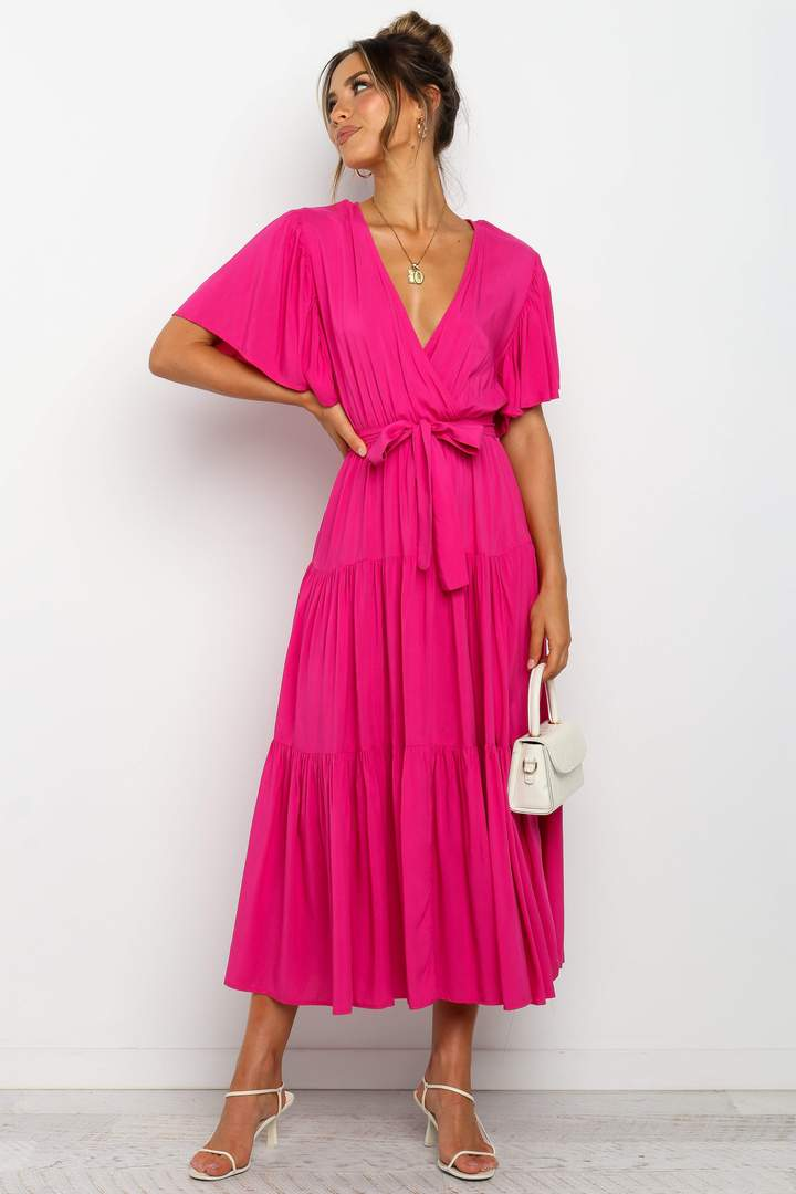 Fuchsia pink wrap dress for the home
