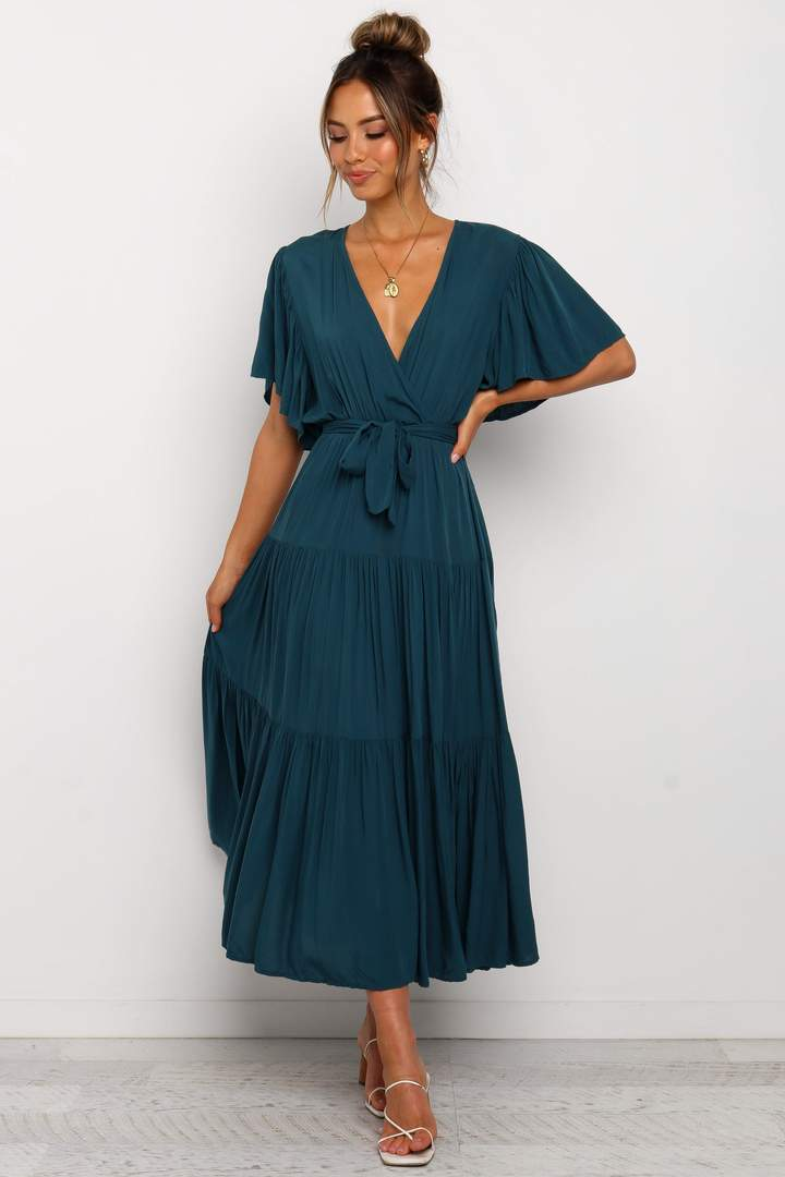 Navy blue tiered wrap dress