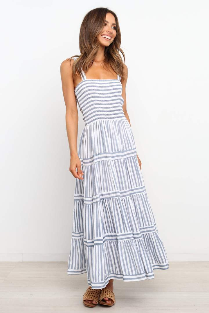 White and blue stripe dress for the home