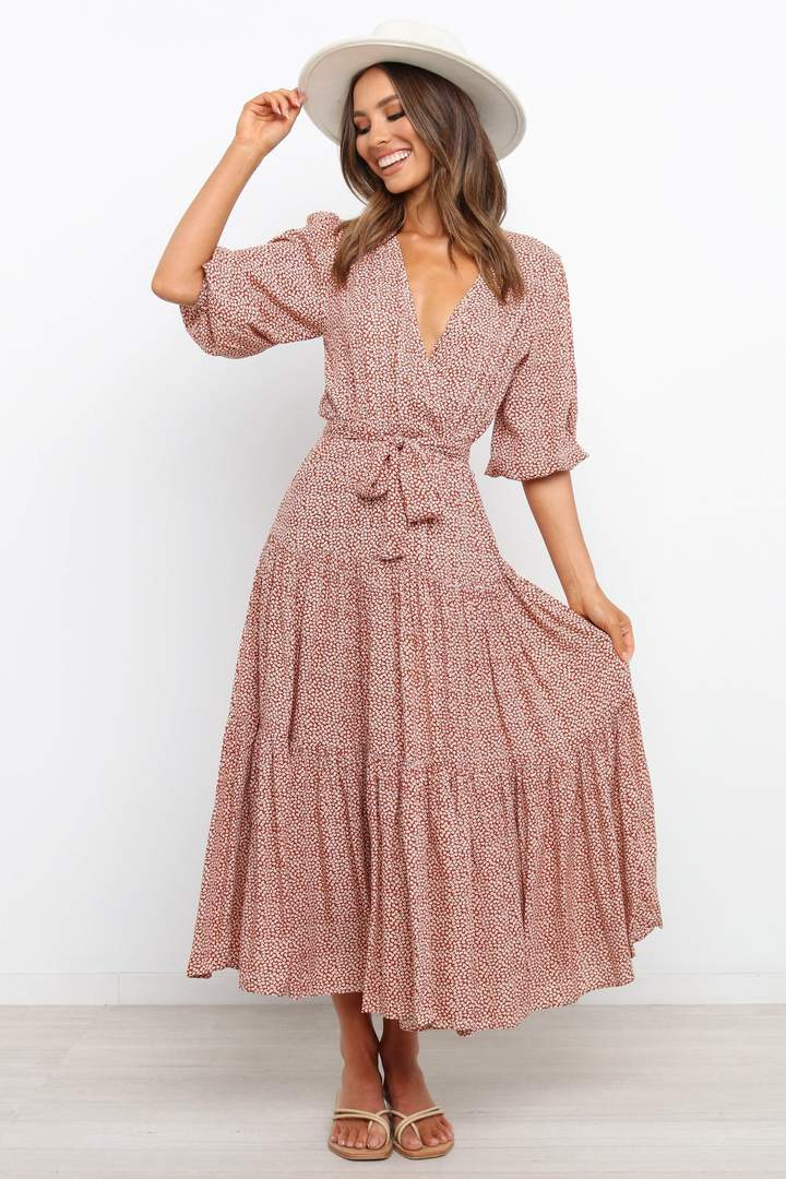 Cute rust cottagecore dress with sleeves