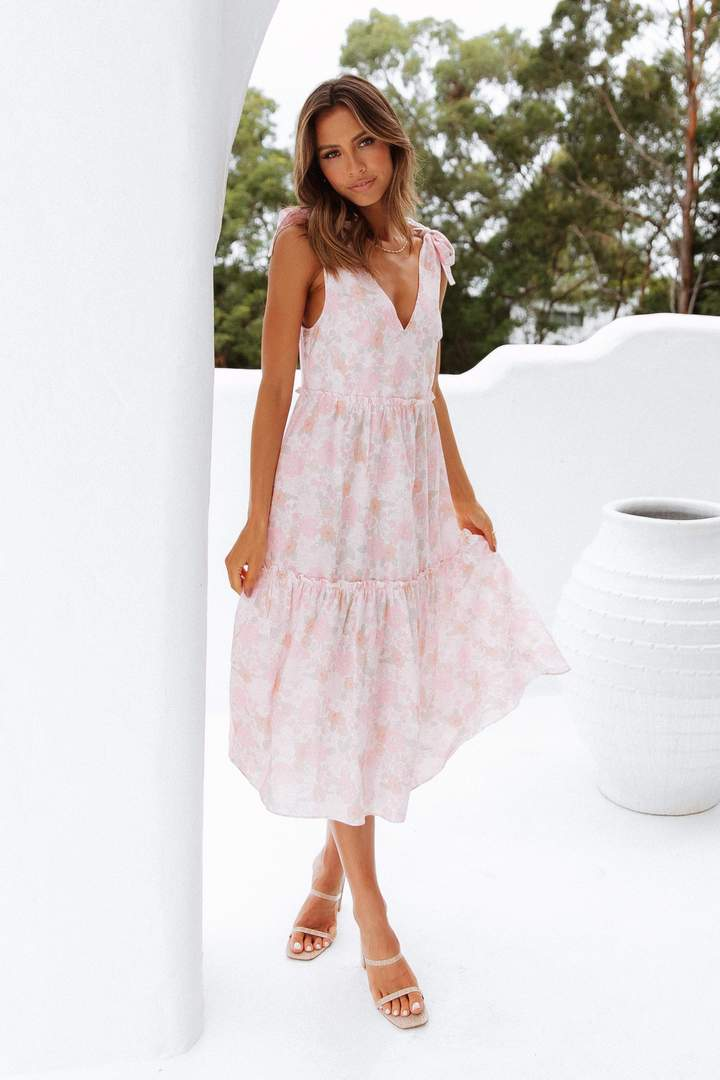 Cute pink floral house dress with ribbons