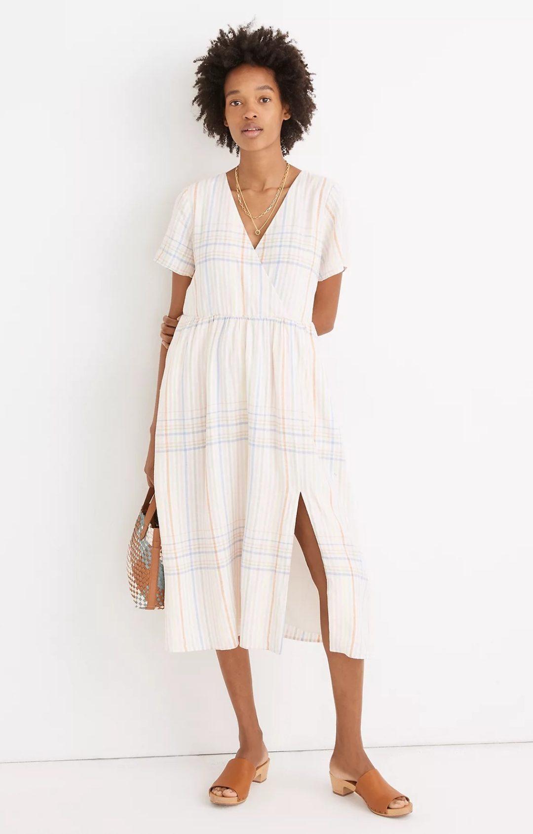 Light plaid and linen midi dress with thigh slit