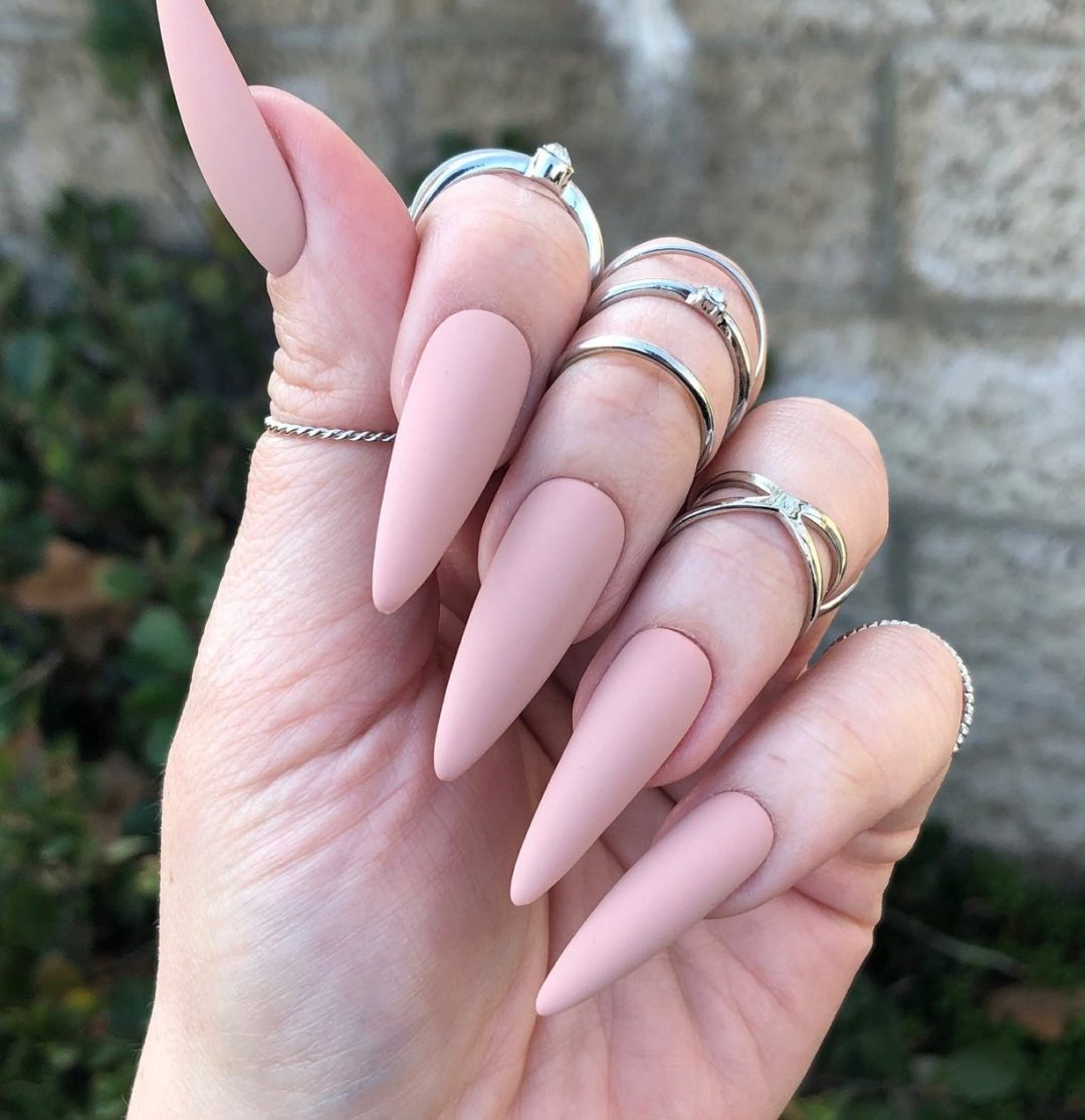 Dusty pink and nude matte nails