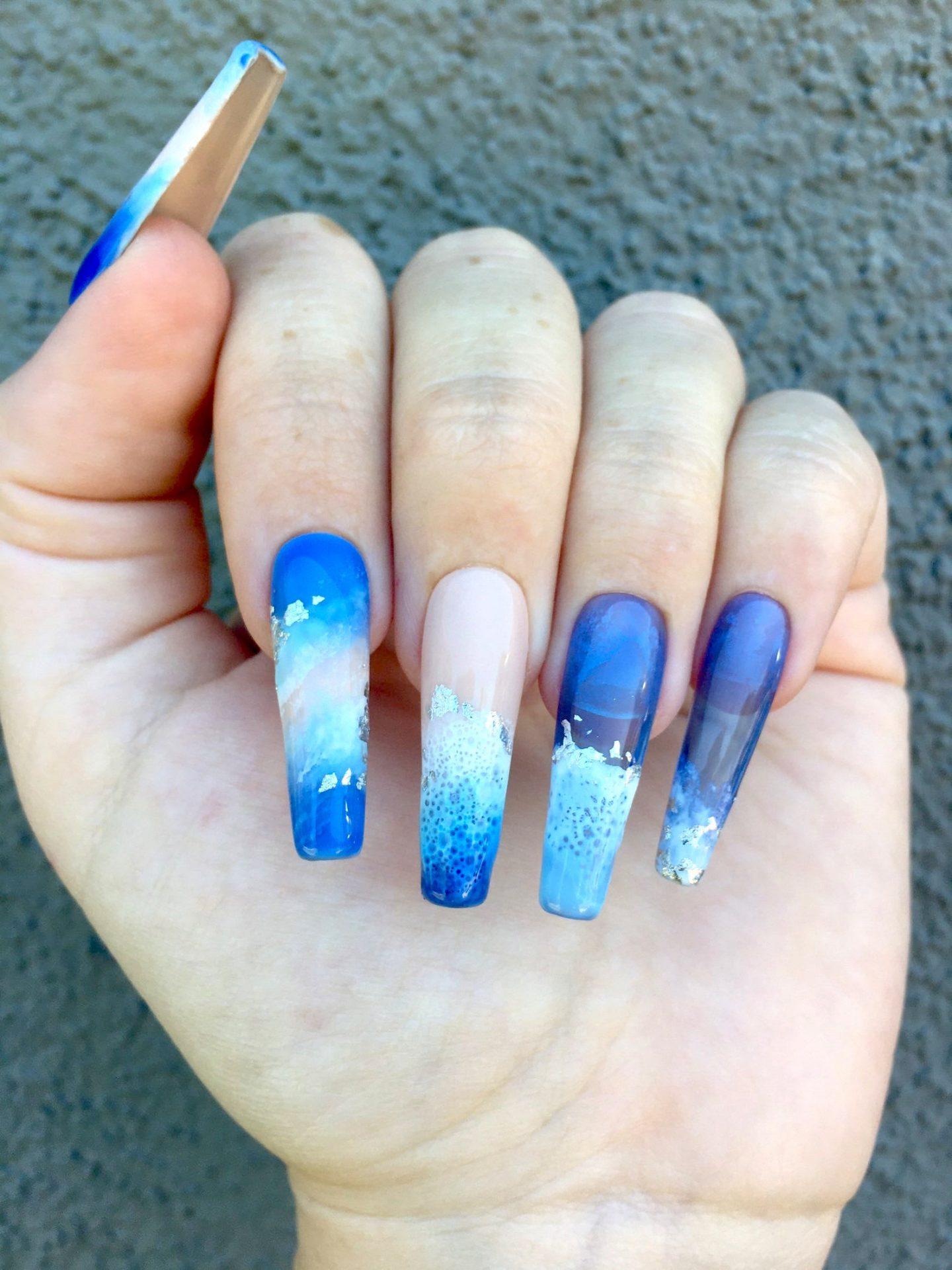 Ocean waves blue nails