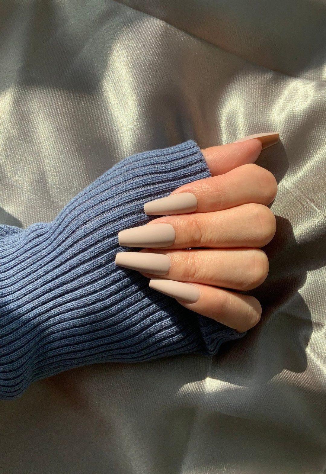 Light nude matte coffin nails
