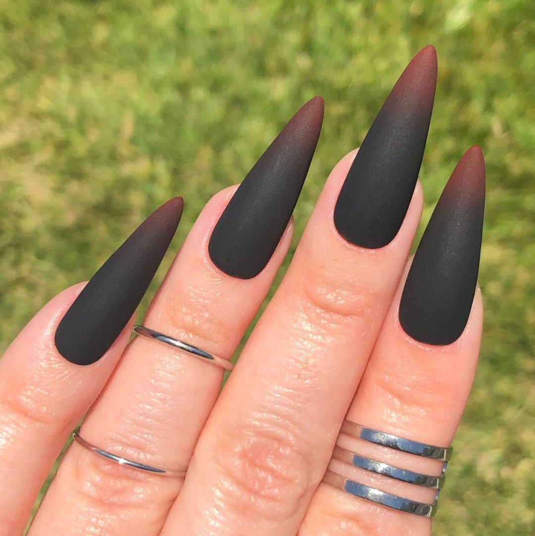 Black and red ombre matte nails