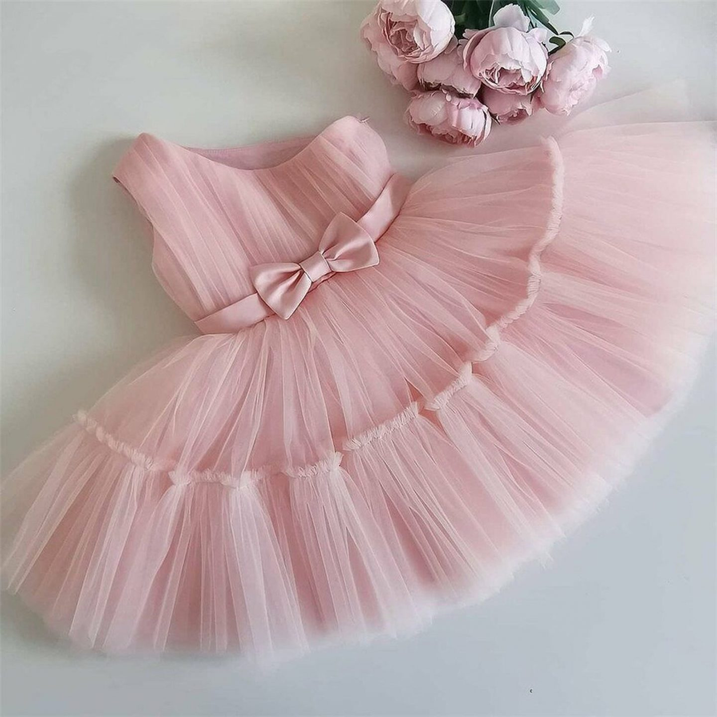 Pink tulle dress for first birthday of baby girl