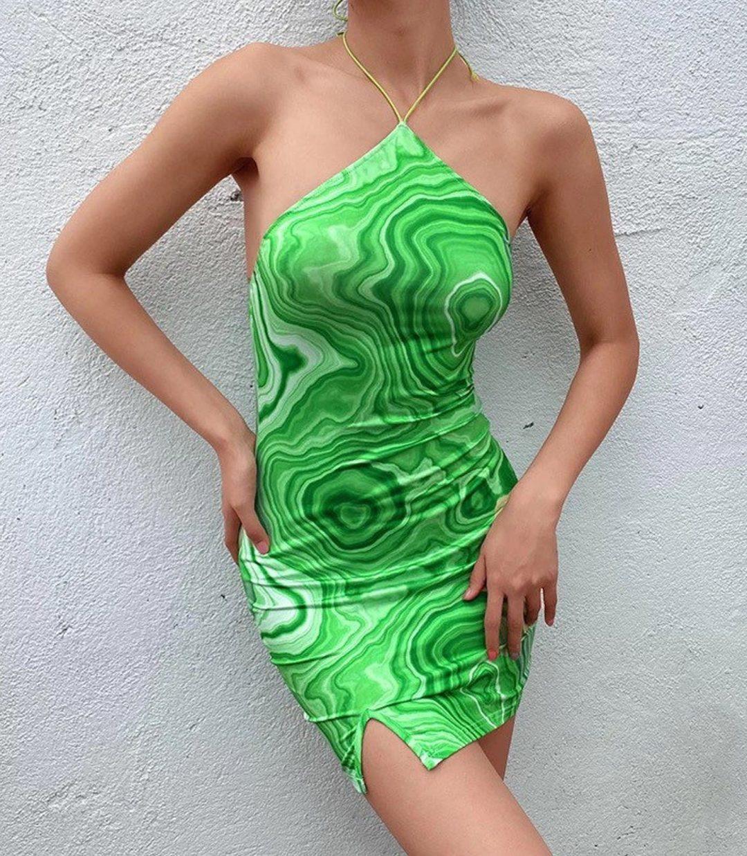Yeşil y2k elbise