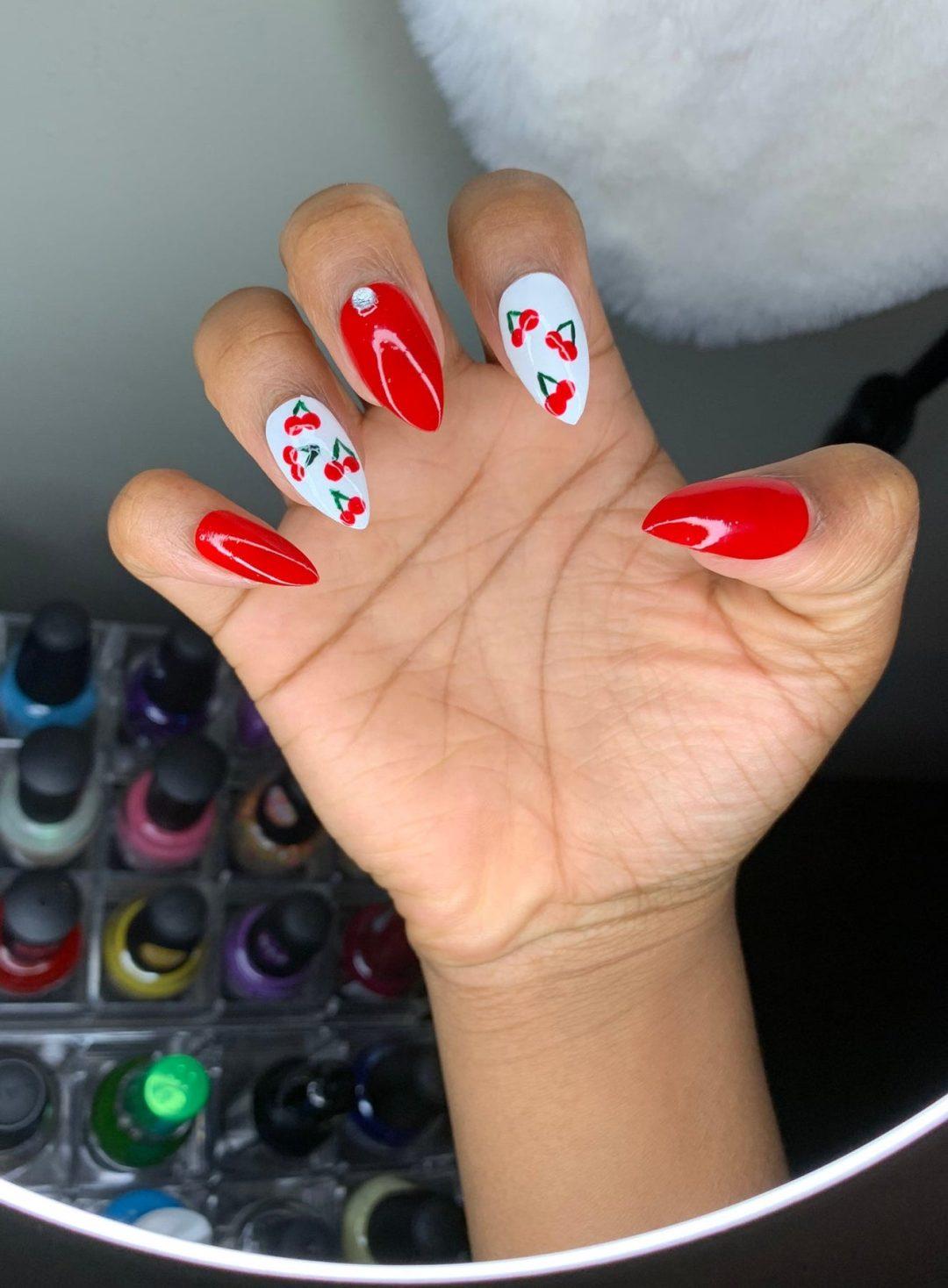 Cherry red nail art