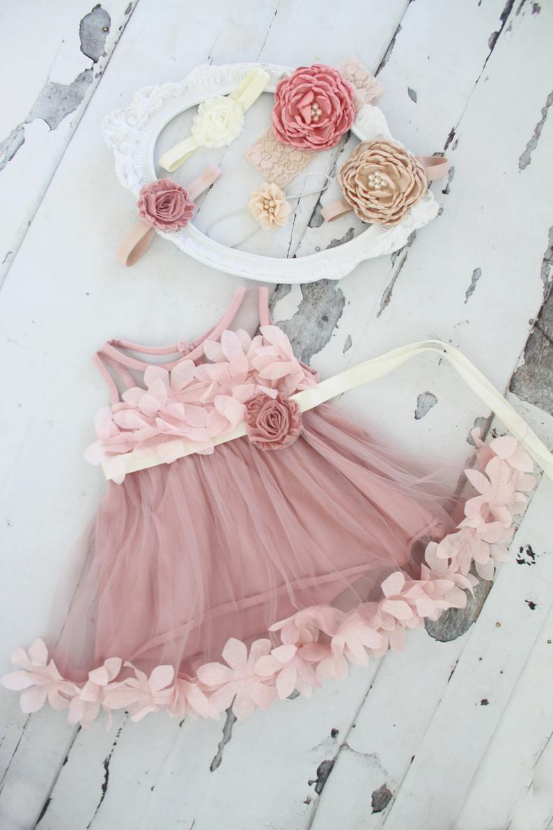 Dusty pink floral birthday dress for baby girls