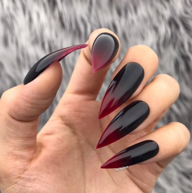 Black and cherry ombre nails