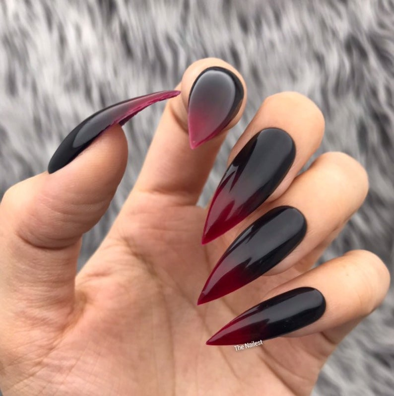 Dark stiletto nails with red and black ombre