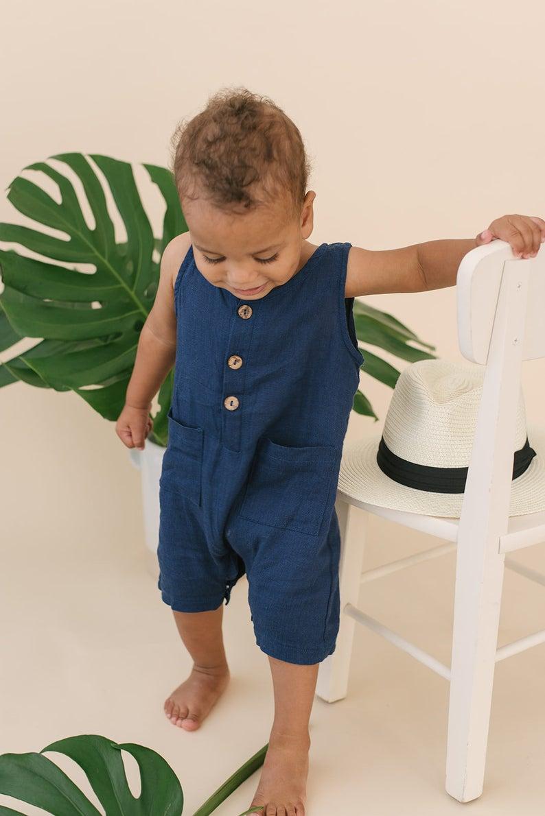 Blue linen romper for baby boys