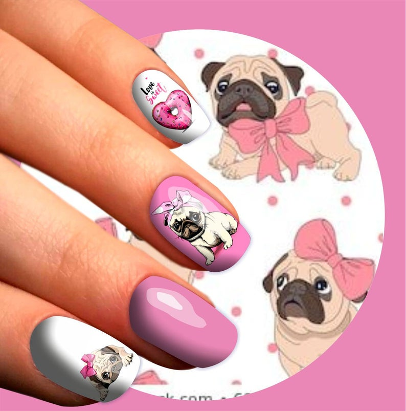 Adorable pug nail stickers