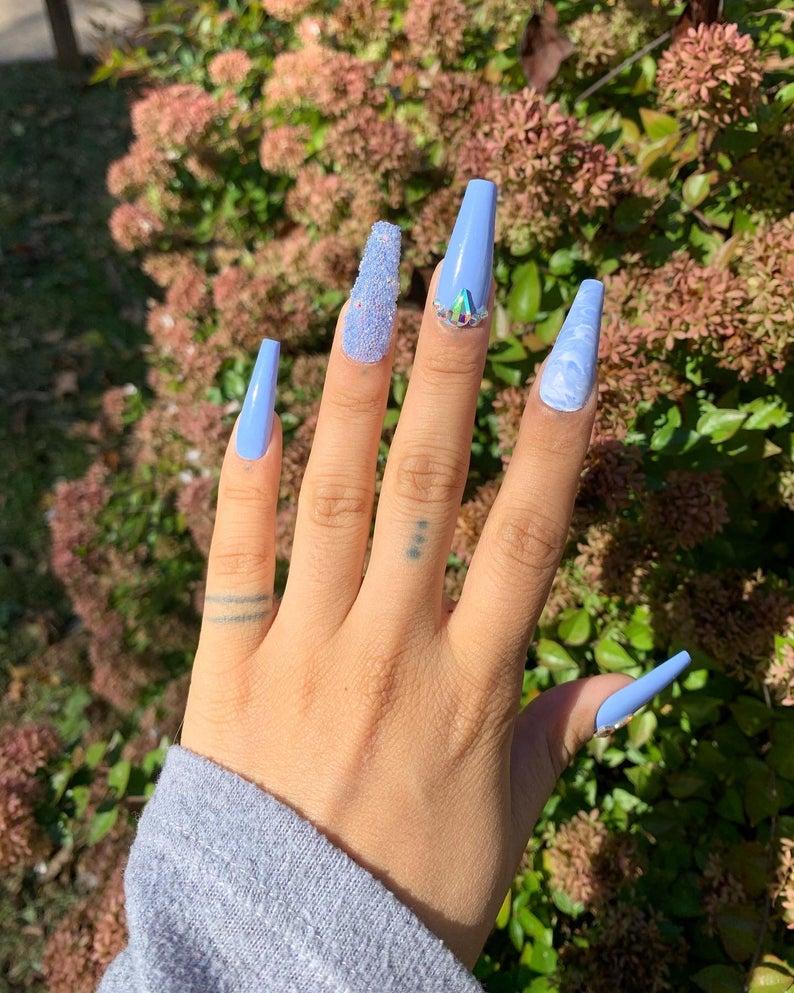 Light blue design for coffin nails