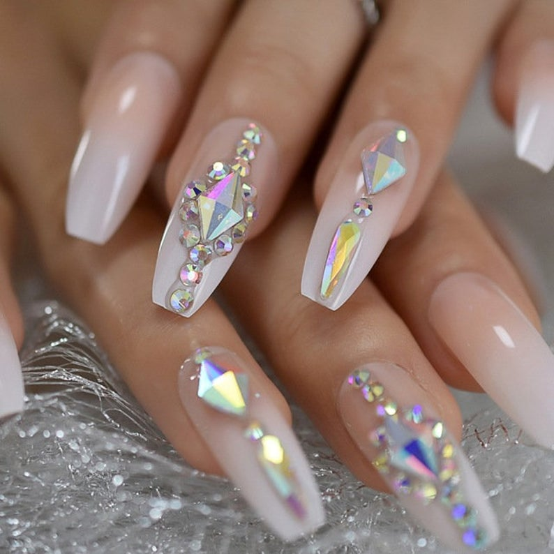 Clear nude nails with rhinestones