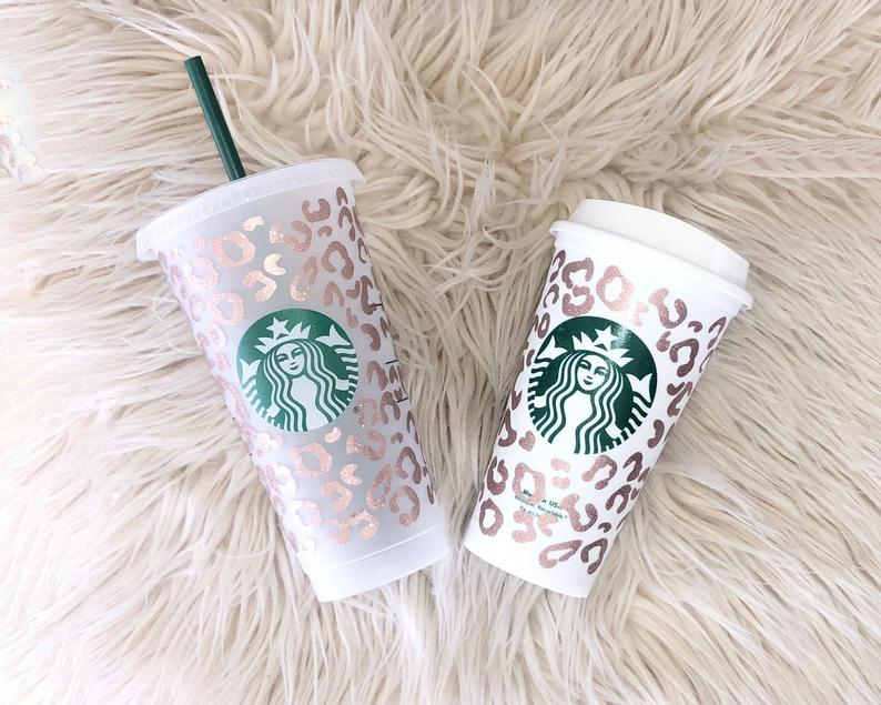 Rose gold leopard print customized starbucks cup