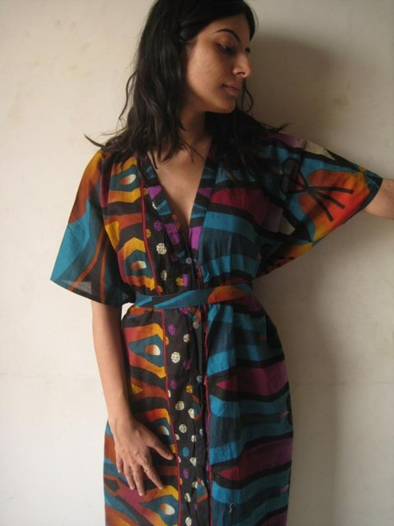 Printed house dress with tie