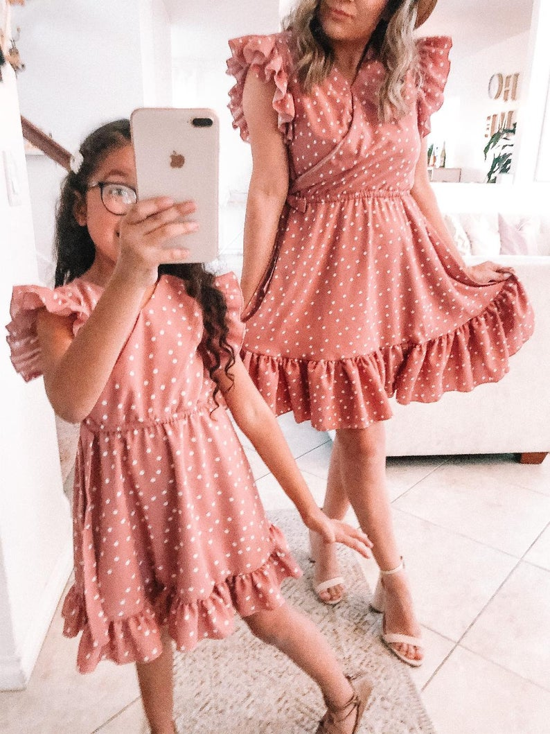 Dusty pink ruffled dress mommy and me outfit