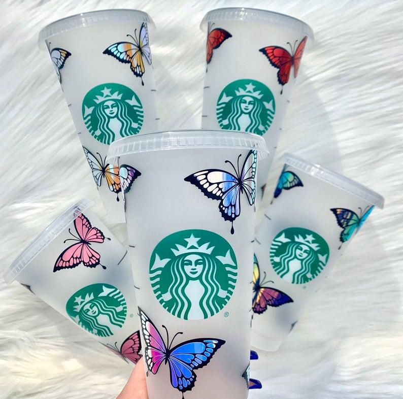 Vinyl butterflies stickers customized starbucks cup