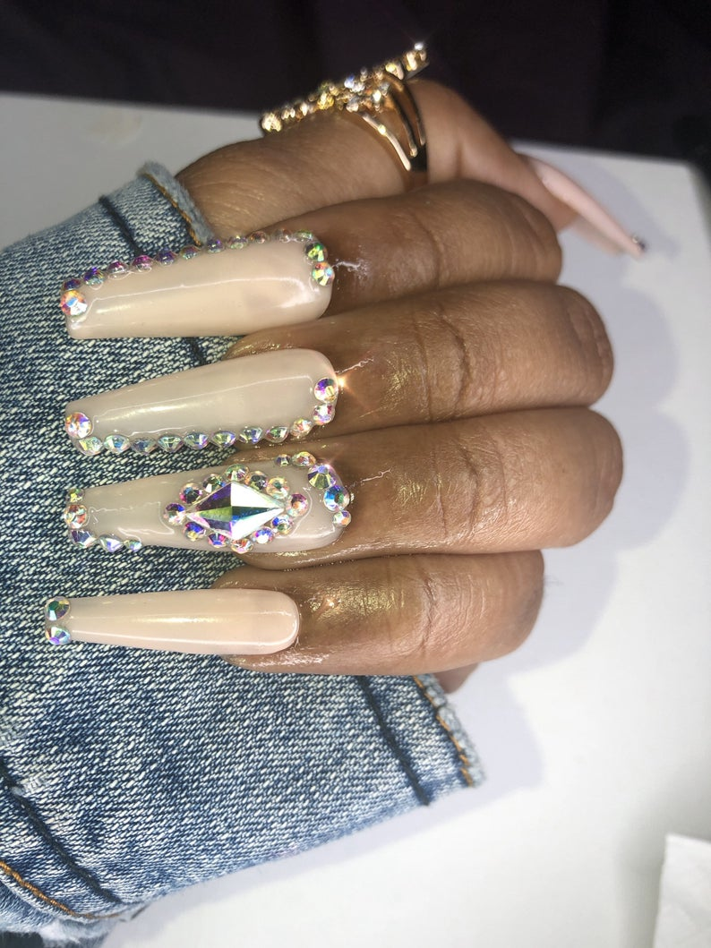 Nude nail design with rhinestones