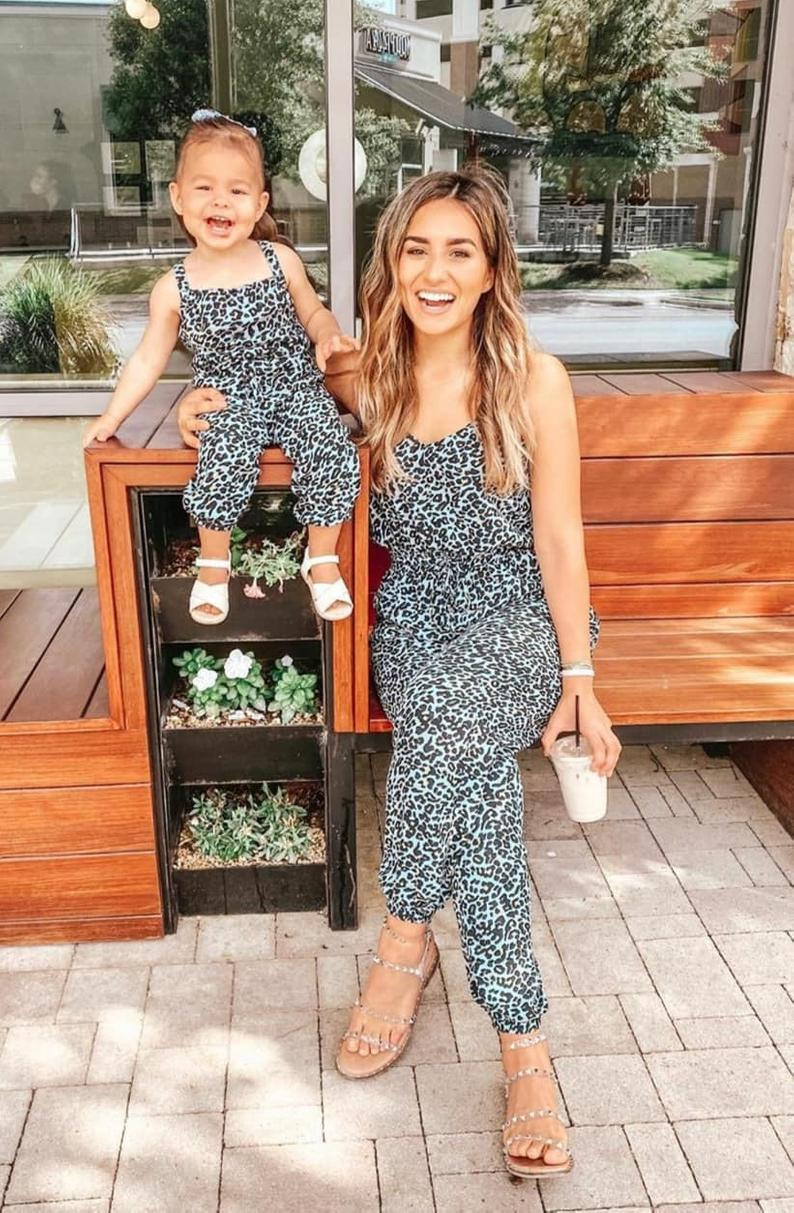 Leopard print mommy and me jumpsuit