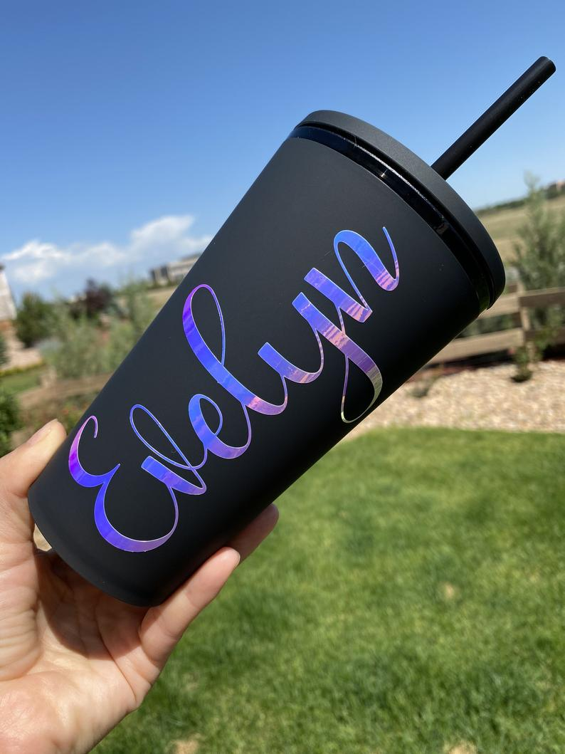 Matte black personalized Starbucks tumbler with holographic name