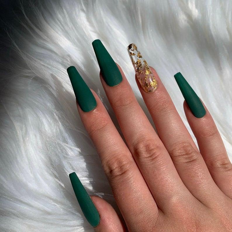 Emerald matte green nails with gold flecks