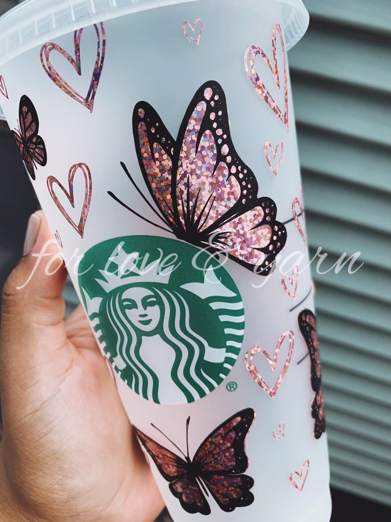 Rose gold glitter butterflies customized starbucks cup
