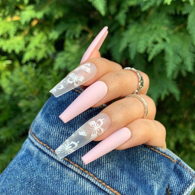 Pastel pnik matte nails with transparent butterfly designs