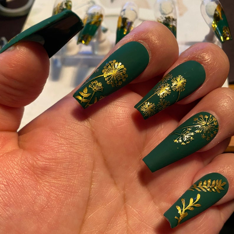 Emerald matte green nails with gold flowers