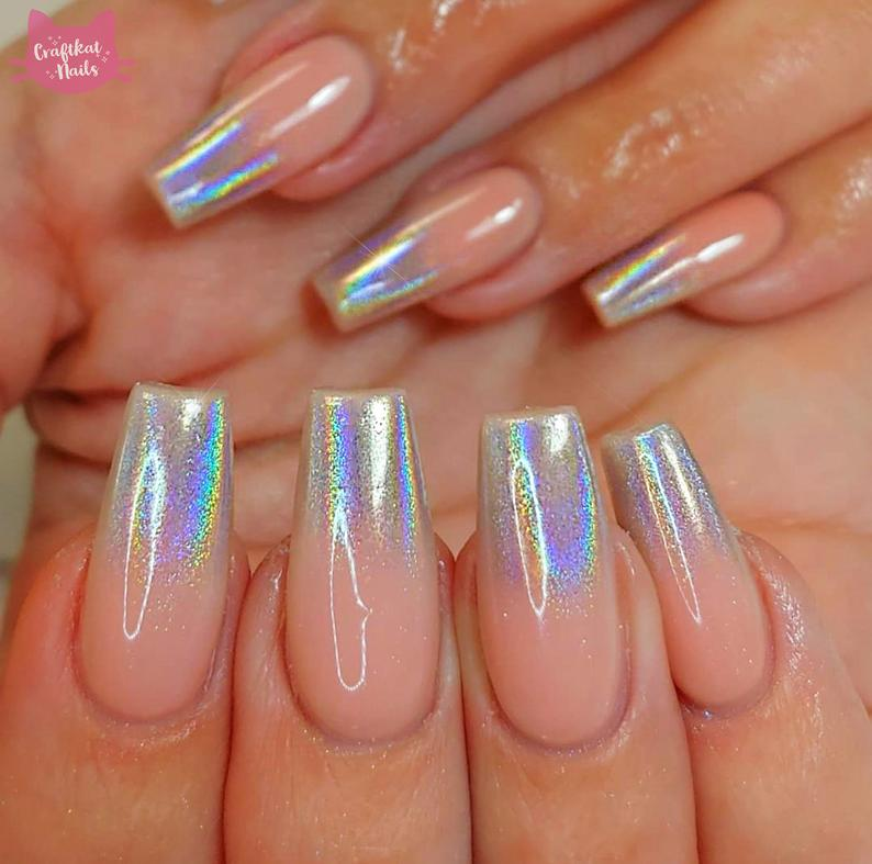 Nude nails with holographic ombre