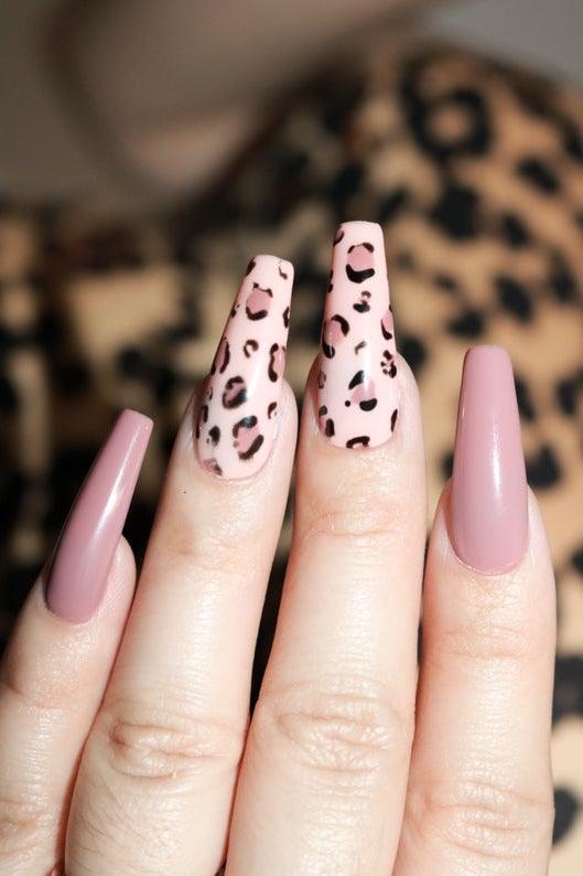 Mauve pink and nude cheetah nails