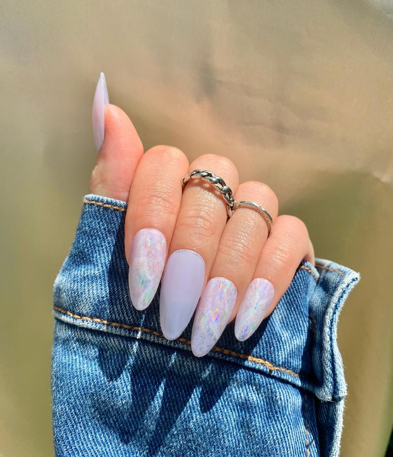 Lavender iridescent almond nails