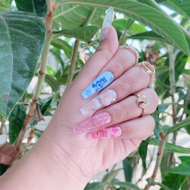 Cute pink and blue care bear themed nails