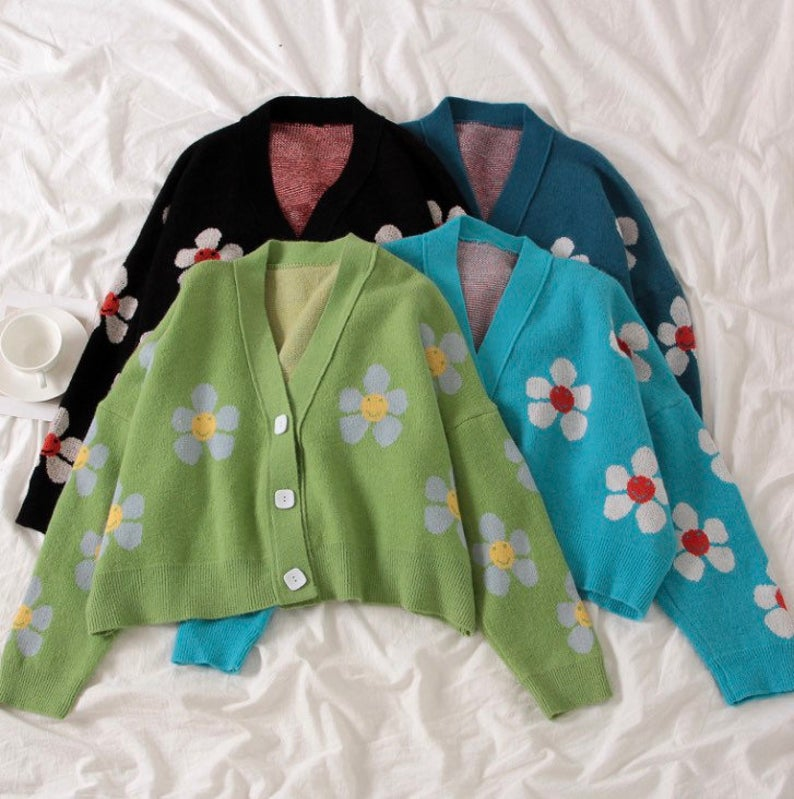 Flower cardigans for aesthetic outfits
