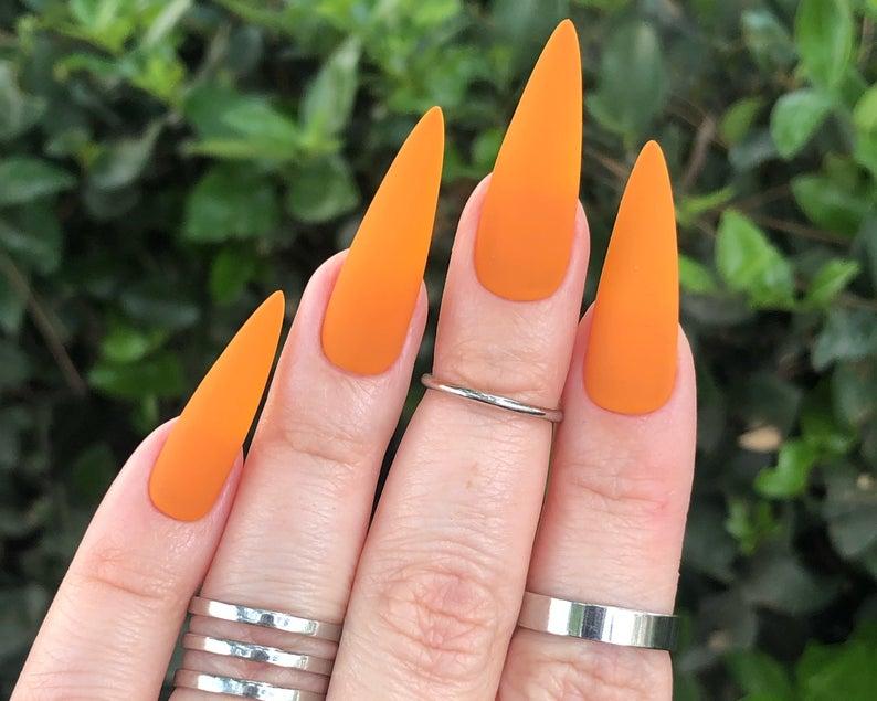 Orange matte stiletto nails