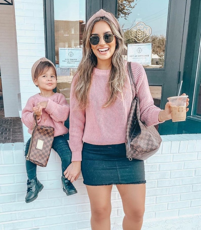 Pink knitted sweater mommy and me outfit