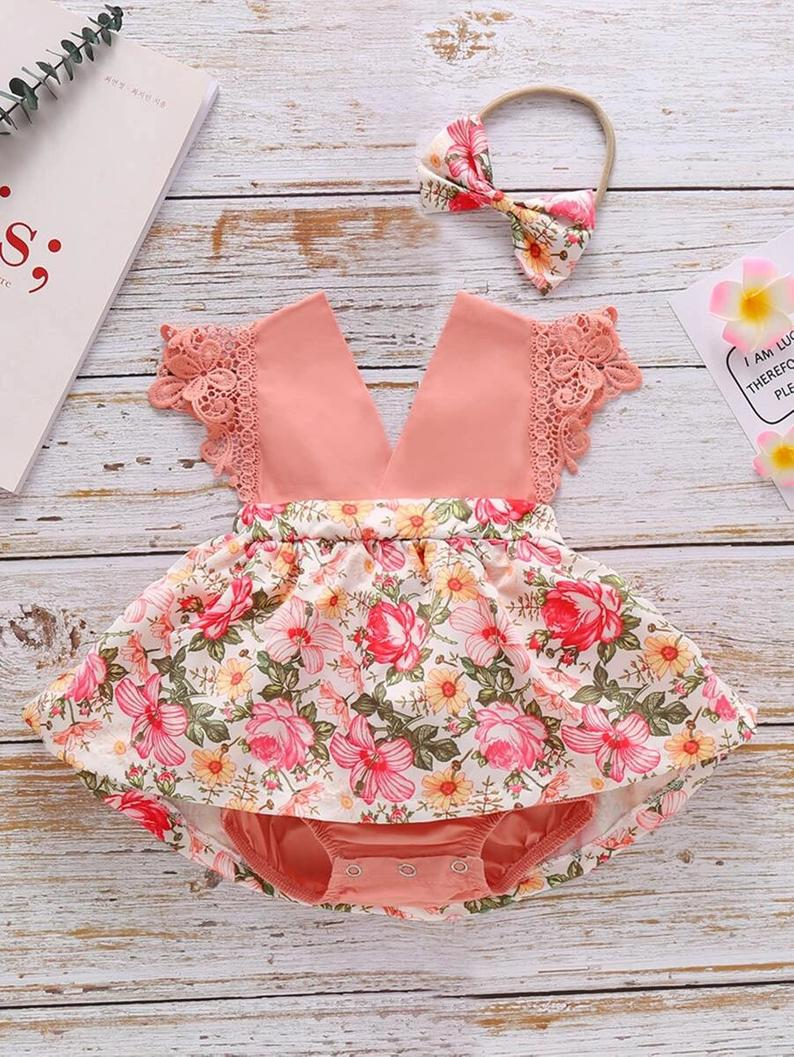 Pink floral dress for baby girls