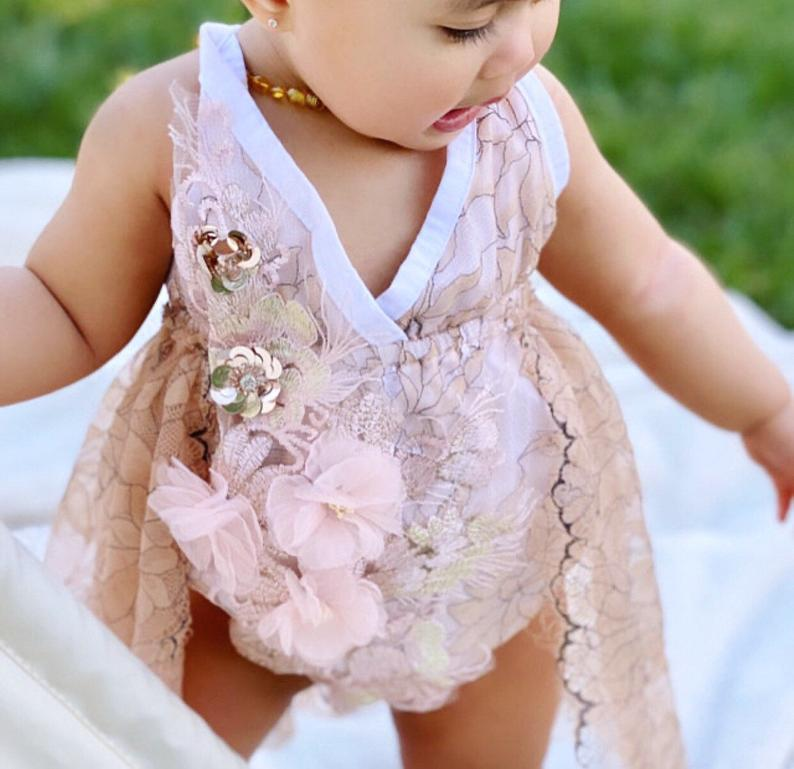 Pink floral birthday dress for baby girls