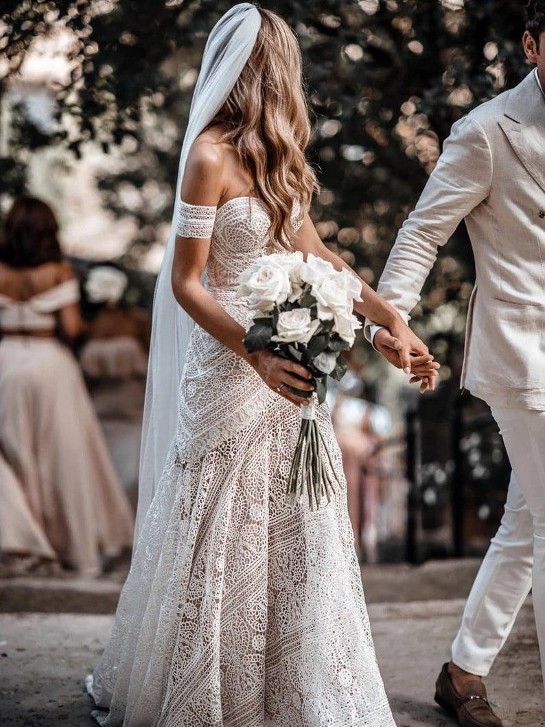 Laced off-shoulder wedding dress