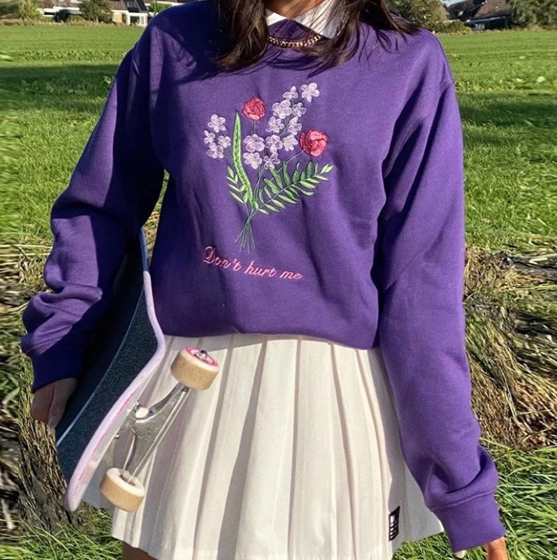 Violet oversized sweater for aesthetic outfits